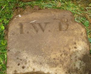 JEFFERSONVILLE CEMETERY DAUGHERTY Isaac W 1828-1856 footstone IWD 3