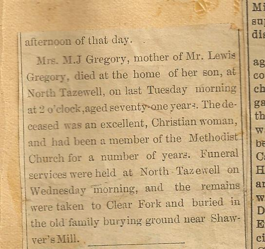 OBITUARY Gregory Mary Jane (Daugherty) 1826-1897