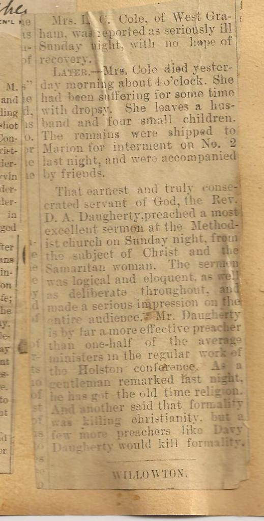 OBITUARY Unrelated David A Daughtery Minister
