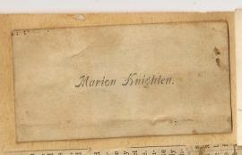 CALLING CARD Marion Knighten