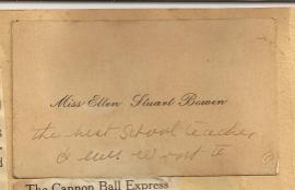 Calling Card Miss Ellen Stuart Bowen
