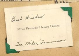 Calling Card Miss Frances Henry Odom