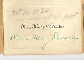 CALLING CARD Mrs Harry C. Preston