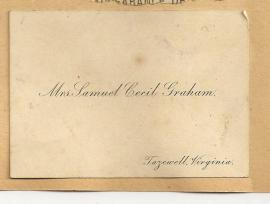 Calling Card Mrs Samuel Cecil Graham