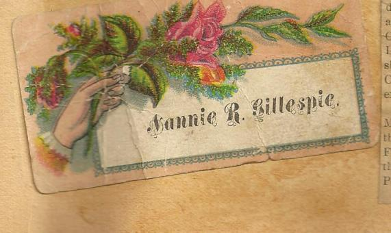 CALLING CARD Nannie R Gillespie