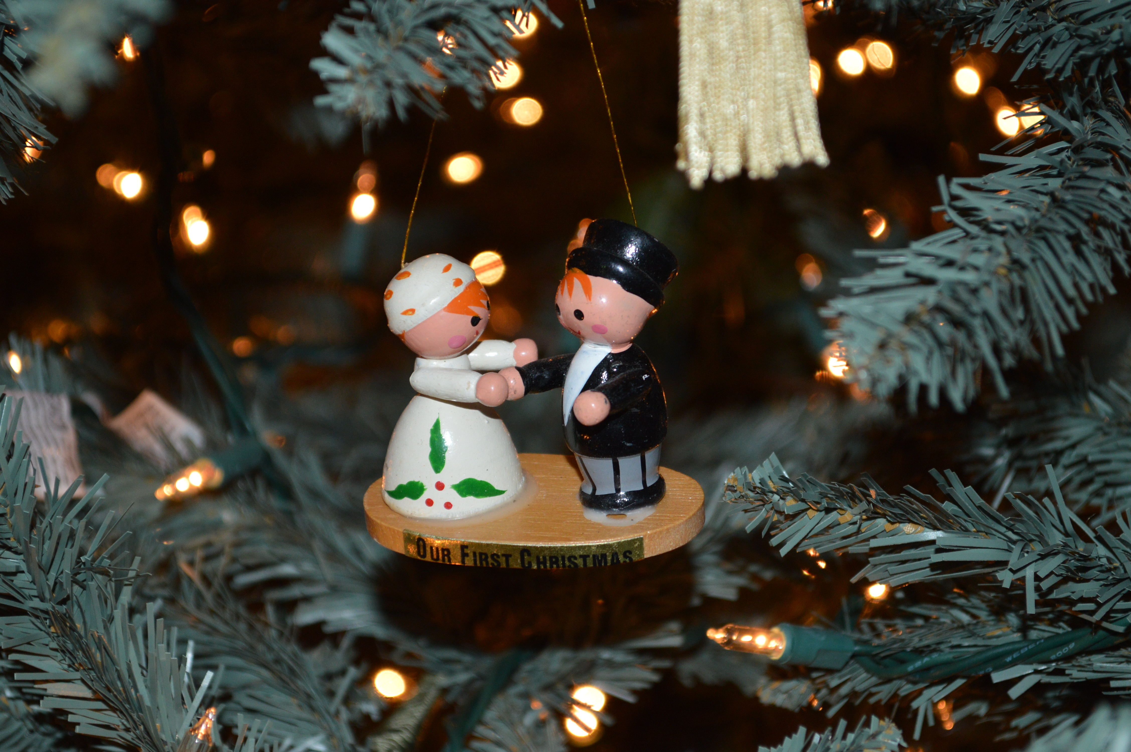 Hummel christmas tree ornaments - The Love Birds And Heart I Purchased For Us In 1985 The Wooden Bride Groom From Grammy On Our First Christmas And The Star Tree Topper For A Very Small